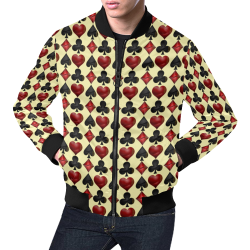 Las Vegas Black and Red Casino Poker Card Shapes on Yellow All Over Print Bomber Jacket for Men (Model H19)