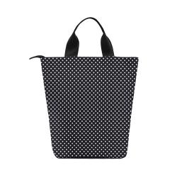 Black polka dots Nylon Lunch Tote Bag (Model 1670)