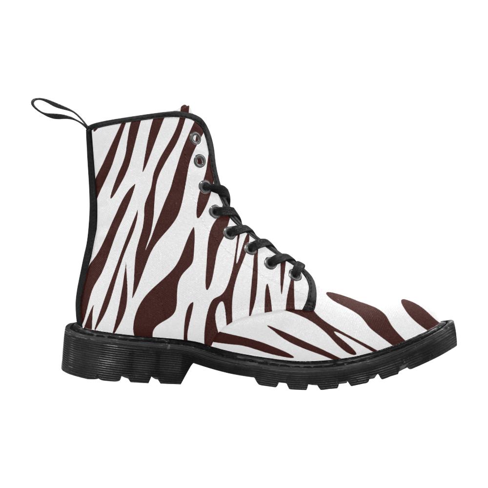 Zebra Martin Boots for Women (Black) (Model 1203H)