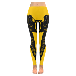 Aziatic Black & Yellow 23 Low Rise Leggings (Invisible Stitch) (Model L05)