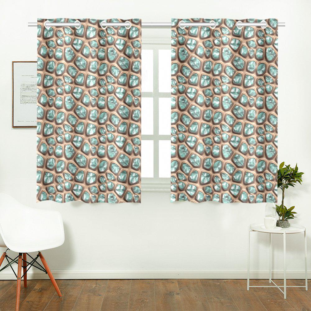 Green crystals Kitchen Curtain 26'' X 39''(2 Pieces, 1 Design)