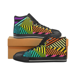 abstracto en color Women's Classic High Top Canvas Shoes (Model 017)