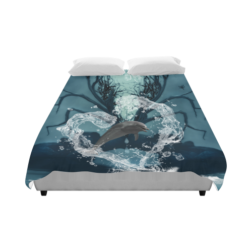 """Dolphin jumping by a heart Duvet Cover 86""""x70"""" ( All-over-print)"""