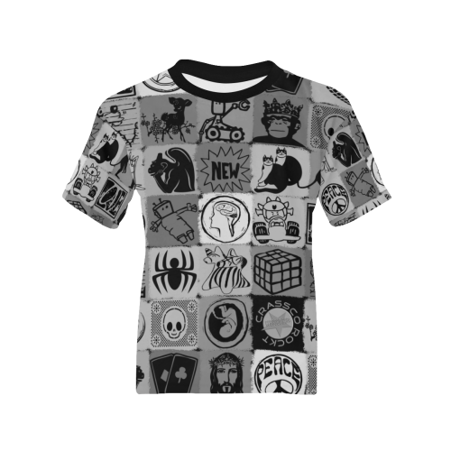 GRAPHIC ART PICTURES GREY Kids' All Over Print T-shirt (Model T65)