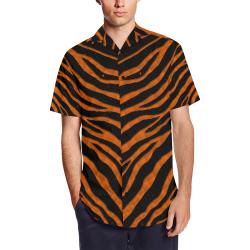 Ripped SpaceTime Stripes - Orange Men's Short Sleeve Shirt with Lapel Collar (Model T54)