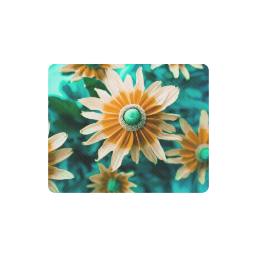 Yellow Orange Flower on Turquoise Green Photo Rectangle Mousepad
