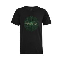 GreenTara Mantra with Mandala Men's V-Neck T-shirt (USA Size) (Model T10)
