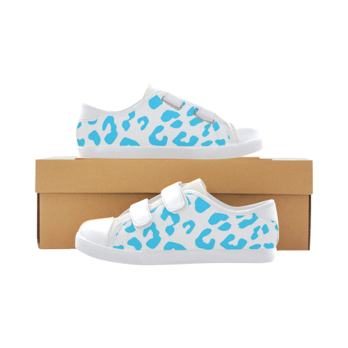 Blue and White Cheetah Velcro Canvas Kid's Shoes (Model 008)