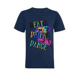 Break Dancing Colorful Blue Men's V-Neck T-shirt  Big Size(USA Size) (Model T10)