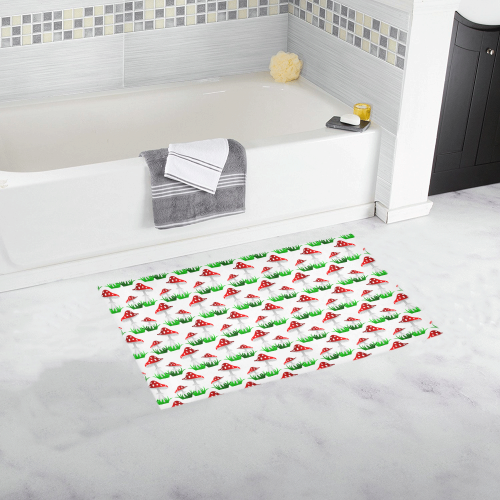 Toadstool red pattern Bath Rug 16''x 28''