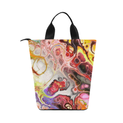 Colorful Marble Design Nylon Lunch Tote Bag (Model 1670)