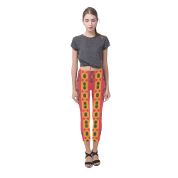 Tribal shapes in retro colors (2) Capri Legging (Model L02)