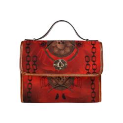 Skulls on red vintage background Waterproof Canvas Bag/All Over Print (Model 1641)