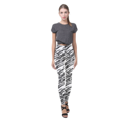 Alien Troops - Black & White Cassandra Women's Leggings (Model L01)