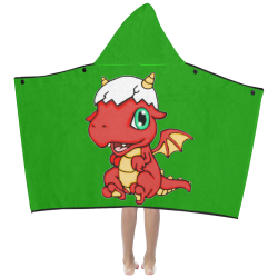 Baby Red Dragon Green Kids' Hooded Bath Towels