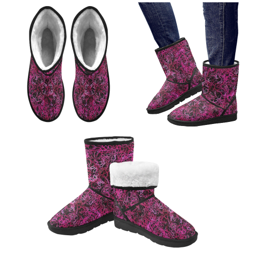 Hot Pink and Black Electric Lines Custom High Top Unisex Snow Boots (Model 047)