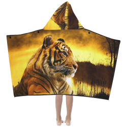Tiger and Sunset Kids' Hooded Bath Towels