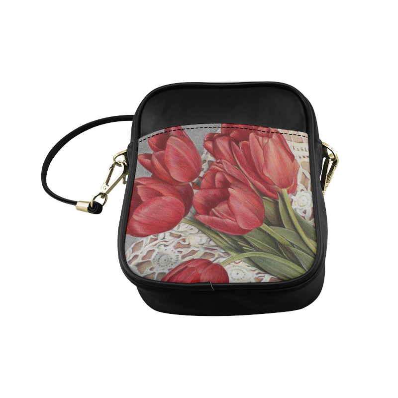 sling bag red tulips Sling Bag (Model 1627)