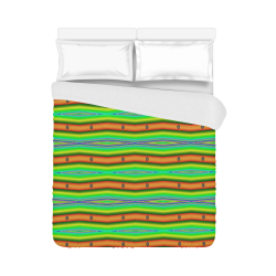 "Bright Green Orange Stripes Pattern Abstract Duvet Cover 86""x70"" ( All-over-print)"