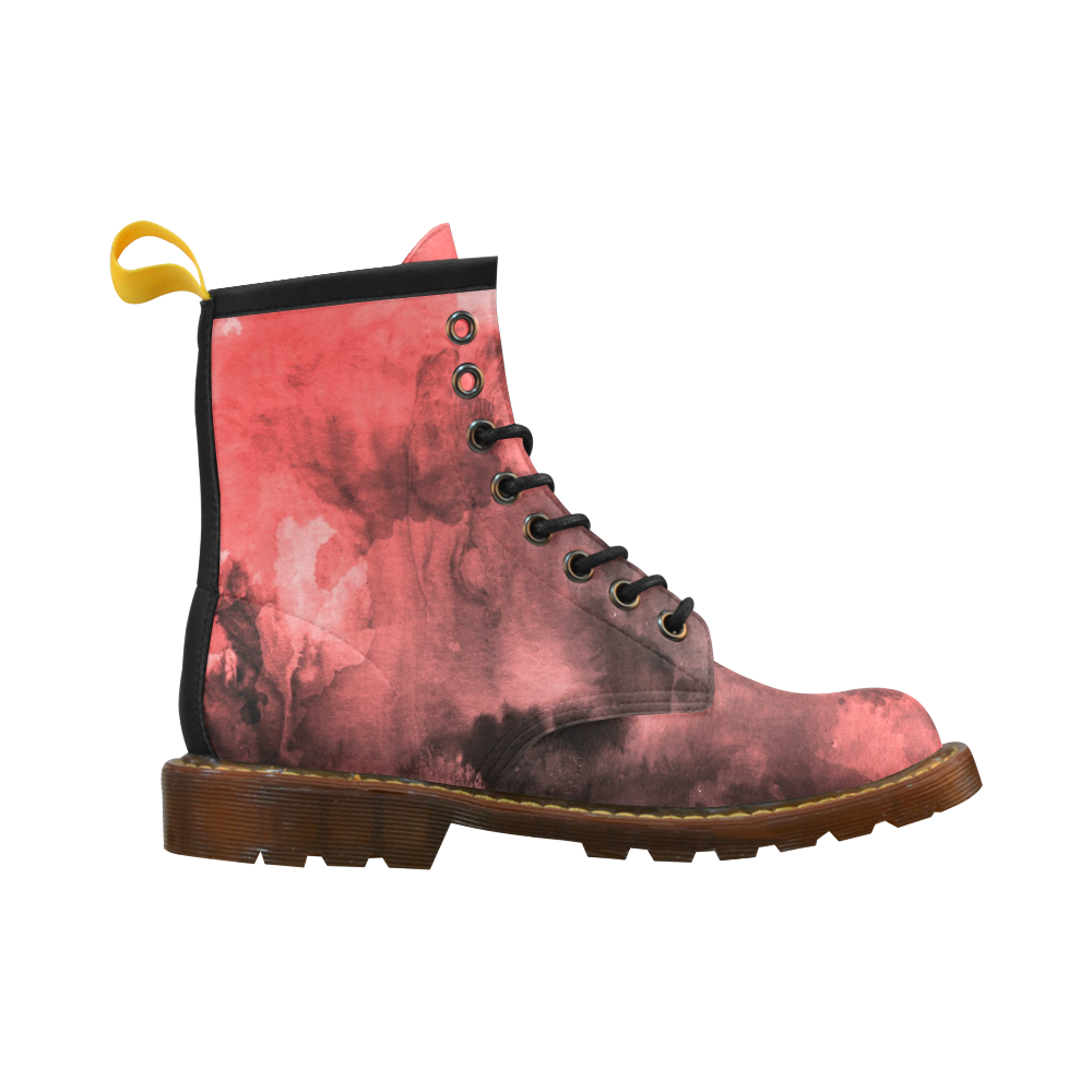 Red and Black Watercolour High Grade PU Leather Martin Boots For Men Model 402H
