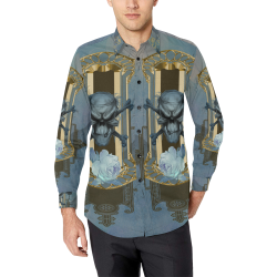 The blue skull with crow Men's All Over Print Casual Dress Shirt (Model T61)