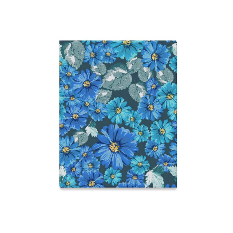 """Gorgeous Blue Floral Canvas Print 20""""x16"""""""