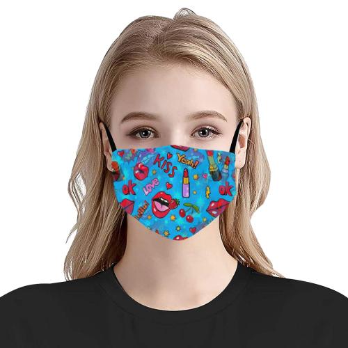 Pop Art Kiss by Nico Bielow Flat Mouth Mask with Drawstring