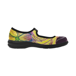 Watercolor Flowers Yellow Purple Green Virgo Instep Deep Mouth Shoes