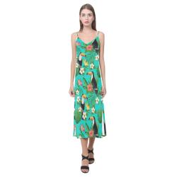 Tropical Summer Toucan Pattern V-Neck Open Fork Long Dress(Model D18)