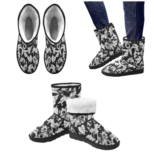 Black and White Pop Art by Nico Bielow Custom High Top Unisex Snow Boots (Model 047)