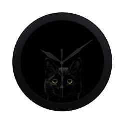 Black Cat Circular Plastic Wall clock