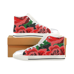 Rose Women's Classic High Top Canvas Shoes (Model 017)