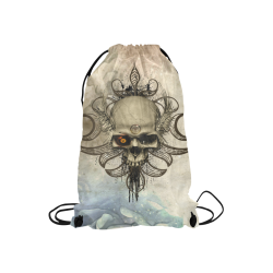 "Creepy skull, vintage background Small Drawstring Bag Model 1604 (Twin Sides) 11""(W) * 17.7""(H)"