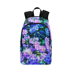 Blue Flowers Bucket Fabric Backpack for Adult (Model 1659)