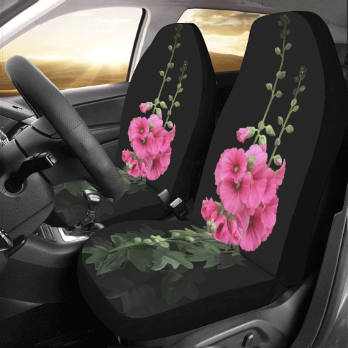 Pink Hollyhocks, floral watercolor Car Seat Covers (Set of 2)