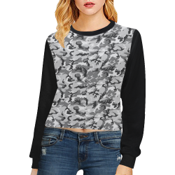 Woodland Urban City Black/Gray Camouflage (Vest Style) Black Crop Pullover Sweatshirts for Women (Model H20)