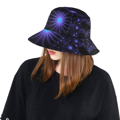 Blue Flower Explosion All Over Print Bucket Hat