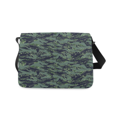 Jungle Tiger Stripe Green Camouflage Messenger Bag (Model 1628)
