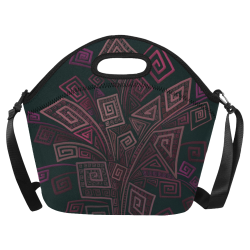 Psychedelic 3D Square Spirals - pink and orange Neoprene Lunch Bag/Large (Model 1669)