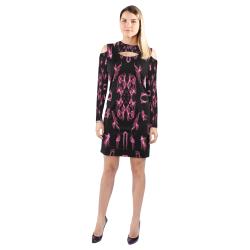 Hand draw splash Cold Shoulder Long Sleeve Dress (Model D37)