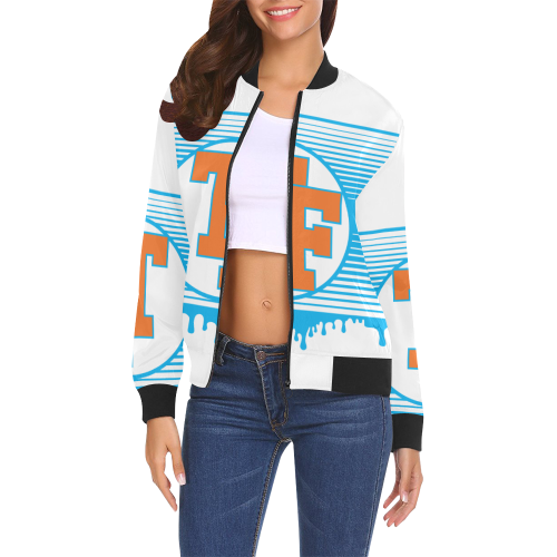 TIGHT FIT Lock J27 All Over Print Bomber Jacket for Women (Model H19)