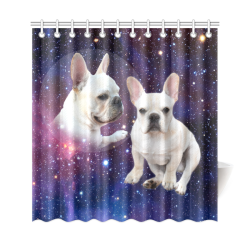 "Galaxy Frenchie Shower Curtain 69""x72"""