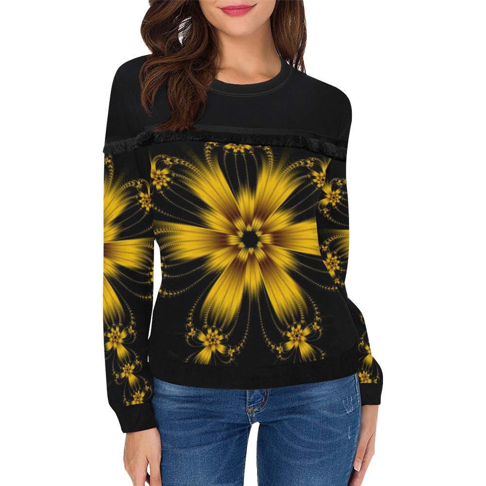 Copper Flower Burst Women's Fringe Detail Sweatshirt (Model H28)