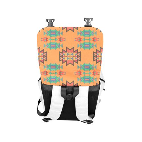 Misc shapes on an orange background Casual Shoulders Backpack (Model 1623)