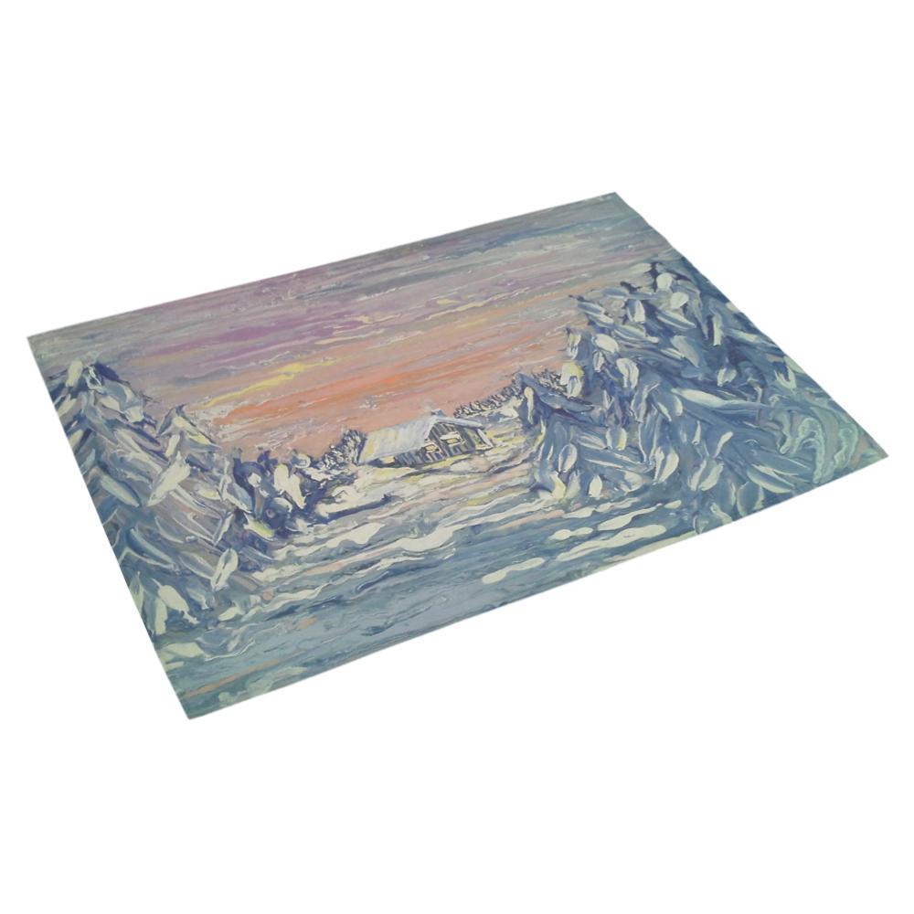 """Winter Cabin - Azalea Doormat 30"""" x 18"""" (Sponge Material)"""