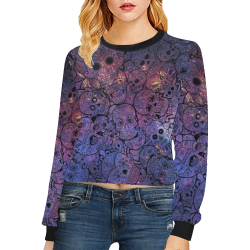 Cosmic Sugar Skulls Crop Pullover Sweatshirts for Women (Model H20)