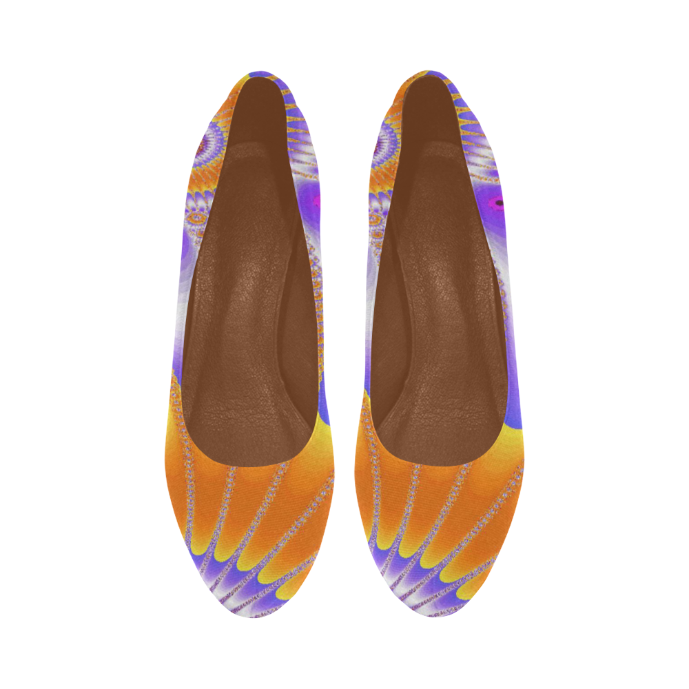 Purple and Orange Sunflower Women's High Heels (Model 044)