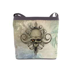 Creepy skull, vintage background Crossbody Bags (Model 1613)
