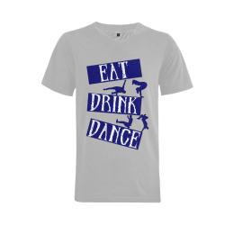 Break Dancing Blue on Silver Men's V-Neck T-shirt  Big Size(USA Size) (Model T10)