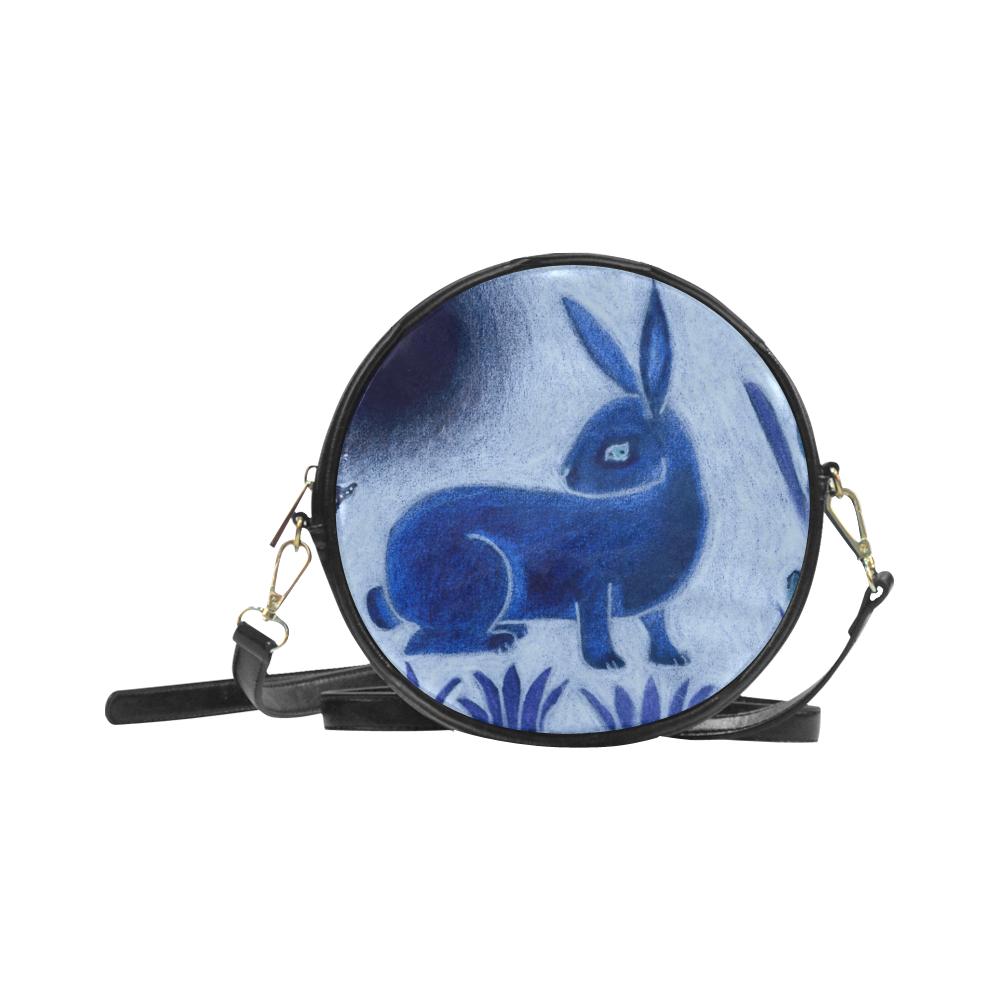 Rabbit Tapestry Round Sling Bag (Model 1647)